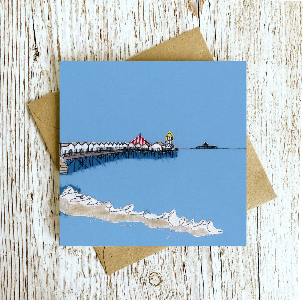Fish and Chips Pier Embroidery Art Card
