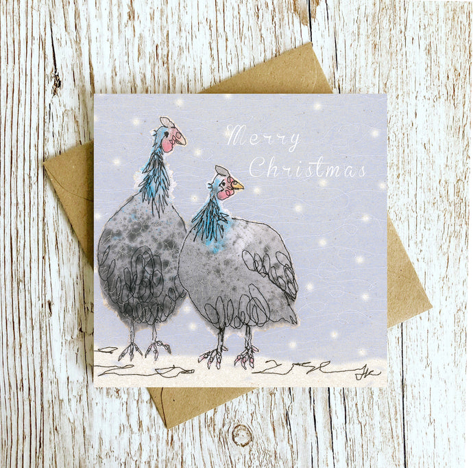 Gordon & Gertie Guinea Fowl Limited Christmas Edition Embroidery Art Card