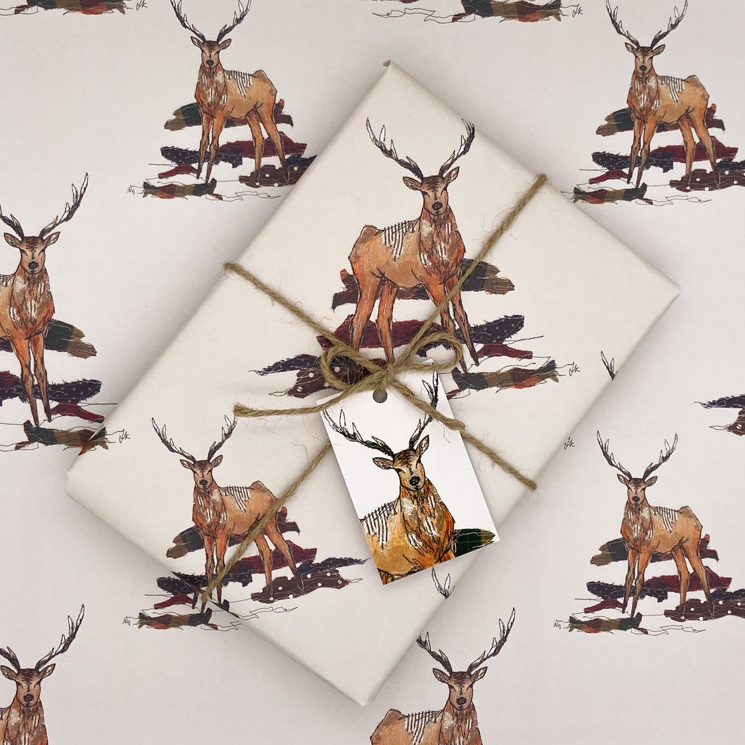 Staggering Stitch Stag Wrapping Paper