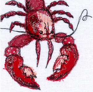 The Lobster Love Embroidery Art Card