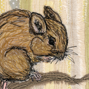 Harvest Mouse Embroidery Art Card