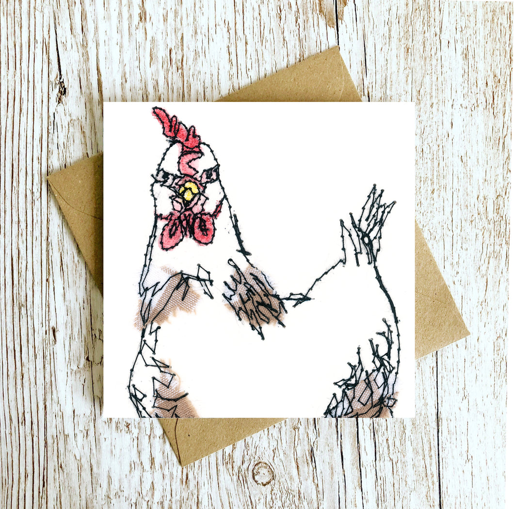Myrtle Chicken Embroidery Art Card