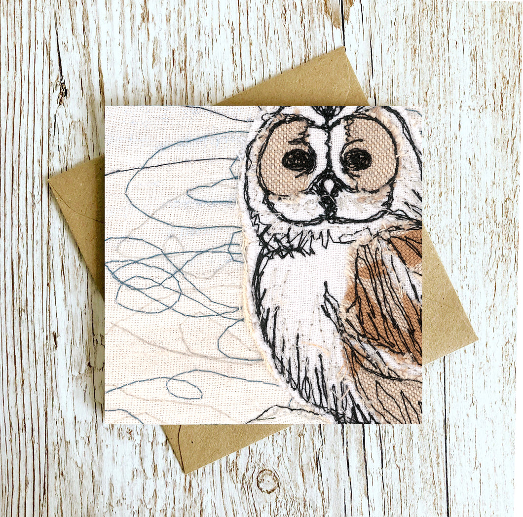 The Winter Moon Owl Embroidery Art Card