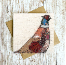 The Furtive Field Pheasant Embroidery Art Card