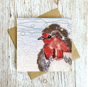 The Rustic Robber Robin Embroidery Art Card