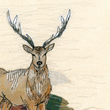 The Staggering Stitch Stag Embroidery Art Card