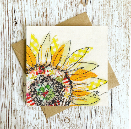 Summer Selvage Sunflower Embroidery Art Card