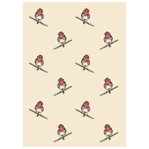 Robin Print Tea Towel