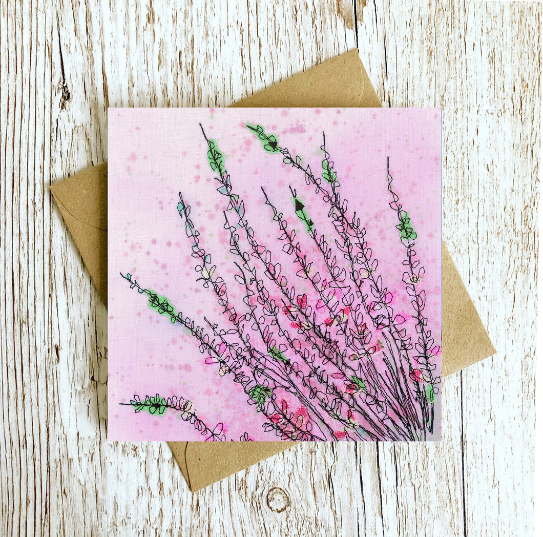 Wild Heather Embroidery Art Card