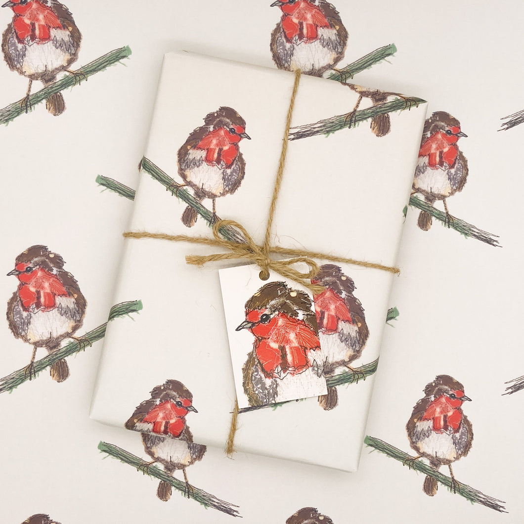 Rustic Robber Robin Wrapping Paper