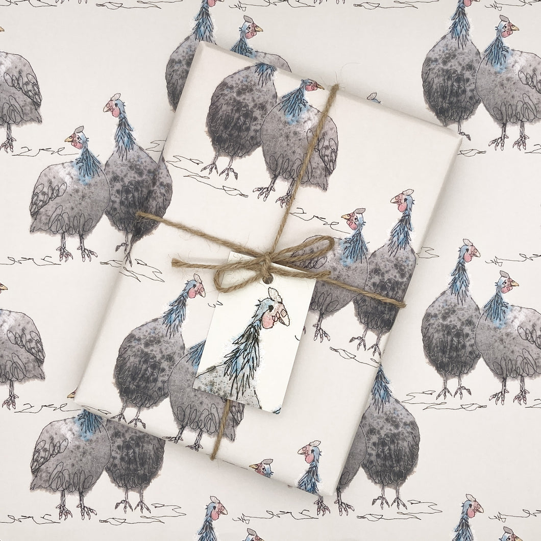 Gordon & Gertie Guinea Fowl Wrapping Paper