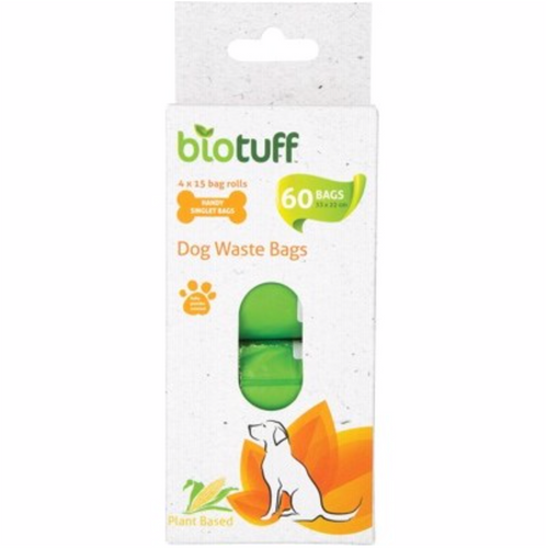 BIOTUFF Dog Waste Bags Refill  4 X 15 Bag Rolls 60