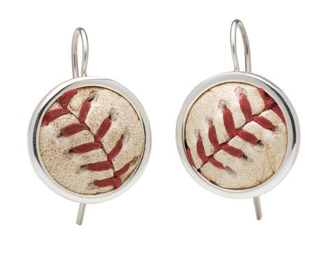 MLB Authenticated Game Used Chicago Cubs Baseball Earrings