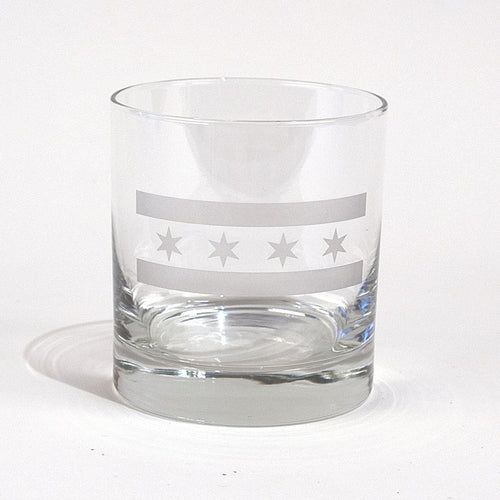 Chicago Flag Whiskey Glass