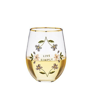 Live Simply stemless wine glass