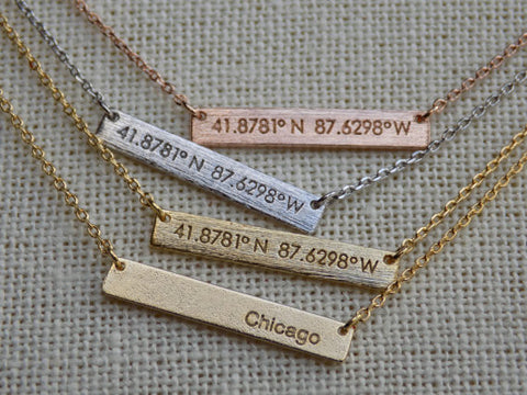 Chicago Coordinates Necklace