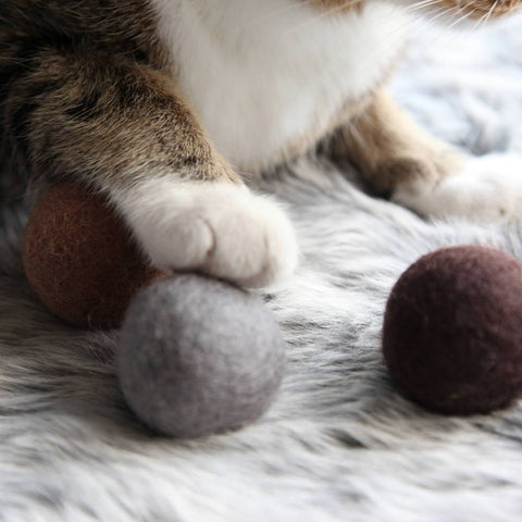 Felt Ball Trio Cat Toy - Cocoa