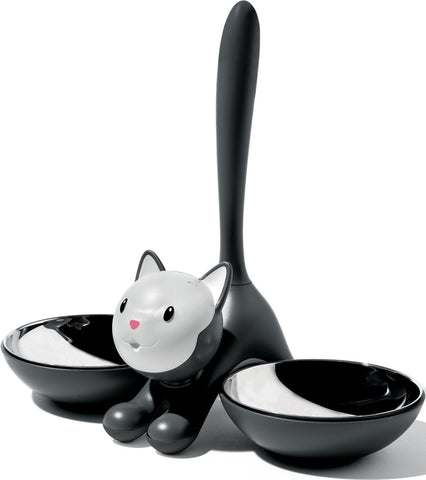 Land of Meow Alessi Tigrito Double Luxury Cat Bowl Black Front