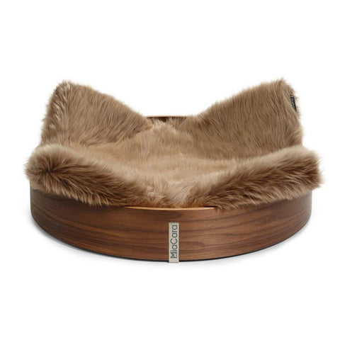 Land of Meow MiaCara Anello Luxury Cat Basket Walnut/Taupe
