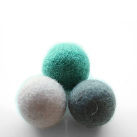 Land of Meow Felt Ball Trio Luxury Cat Toy Seafoam