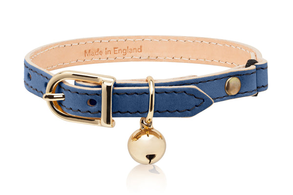 Land of Meow Linny Luxury Cat Collar Blue with Gold Bell Front