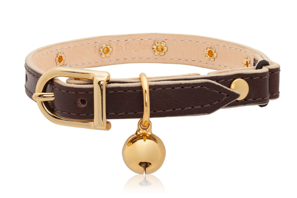 Land of Meow Linny Luxury Cat Collar Chocolate Brown with Gold Studs and Bell Front