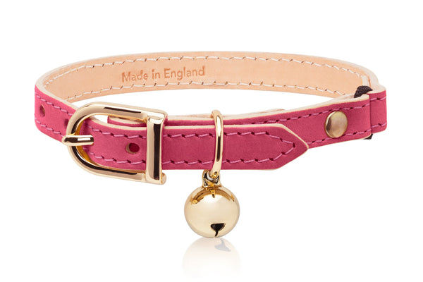 Land of Meow Linny Luxury Cat Collar Fuchsia Pink with Gold Bell Front