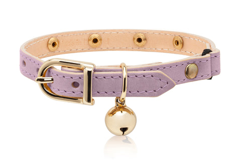 Land of Meow Linny Luxury Cat Collar Lilac Swarovski Crystal with Gold Bell Front