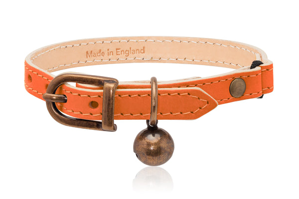 Land of Meow Linny Luxury Cat Collar Orange with Antique Bronze Bell Front