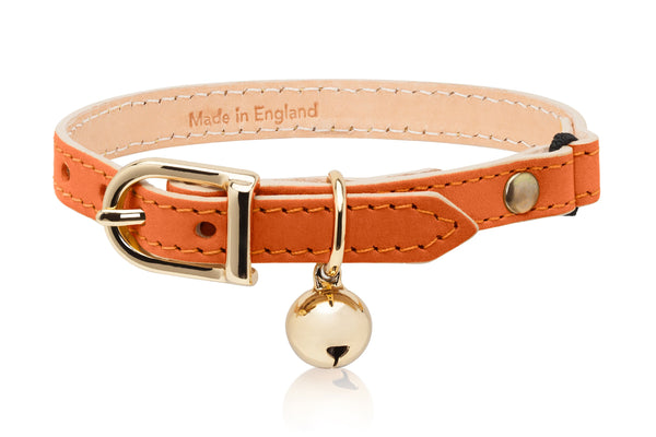 Land of Meow Linny Luxury Cat Collar Orange with Gold Bell Front