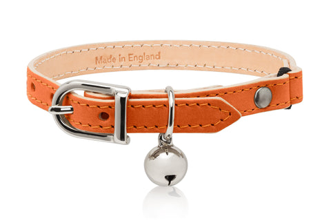 Land of Meow Linny Luxury Cat Collar Orange with Silver Bell Front