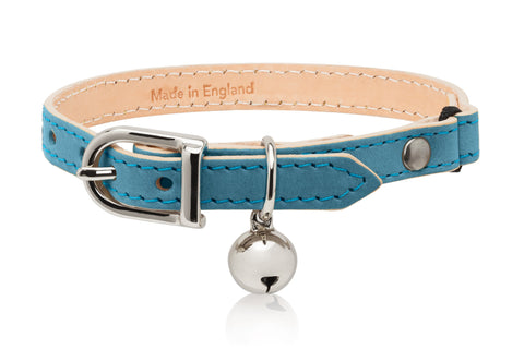 Land of Meow Linny Luxury Cat Collar Sky Blue with Silver Bell Front