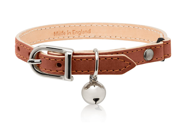 Land of Meow Linny Luxury Cat Collar Tan Brown with Silver Bell Front