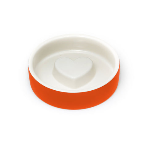 Land of Meow Magisso Tangerine Heart Luxury Cat Bowl