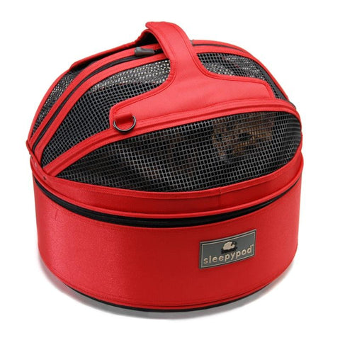 Land of Meow SleepyPod Luxury Cat Carrier Strawberry Red