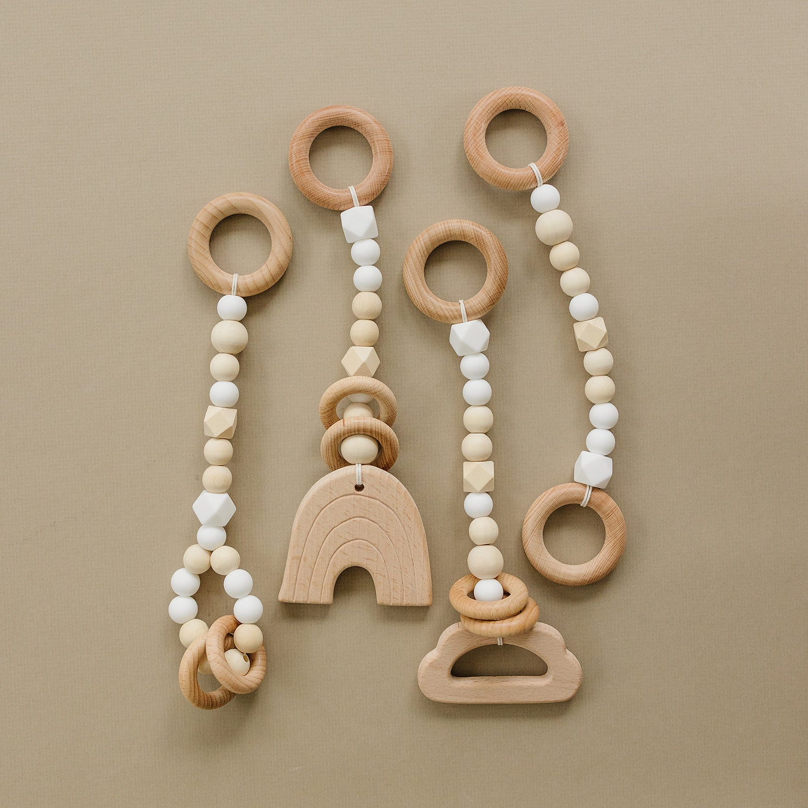 White and Wood Baby Gym Toys