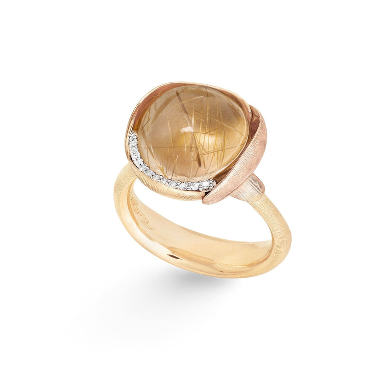 Lotus Rutile Quartz & Diamond Ring -  Size 3