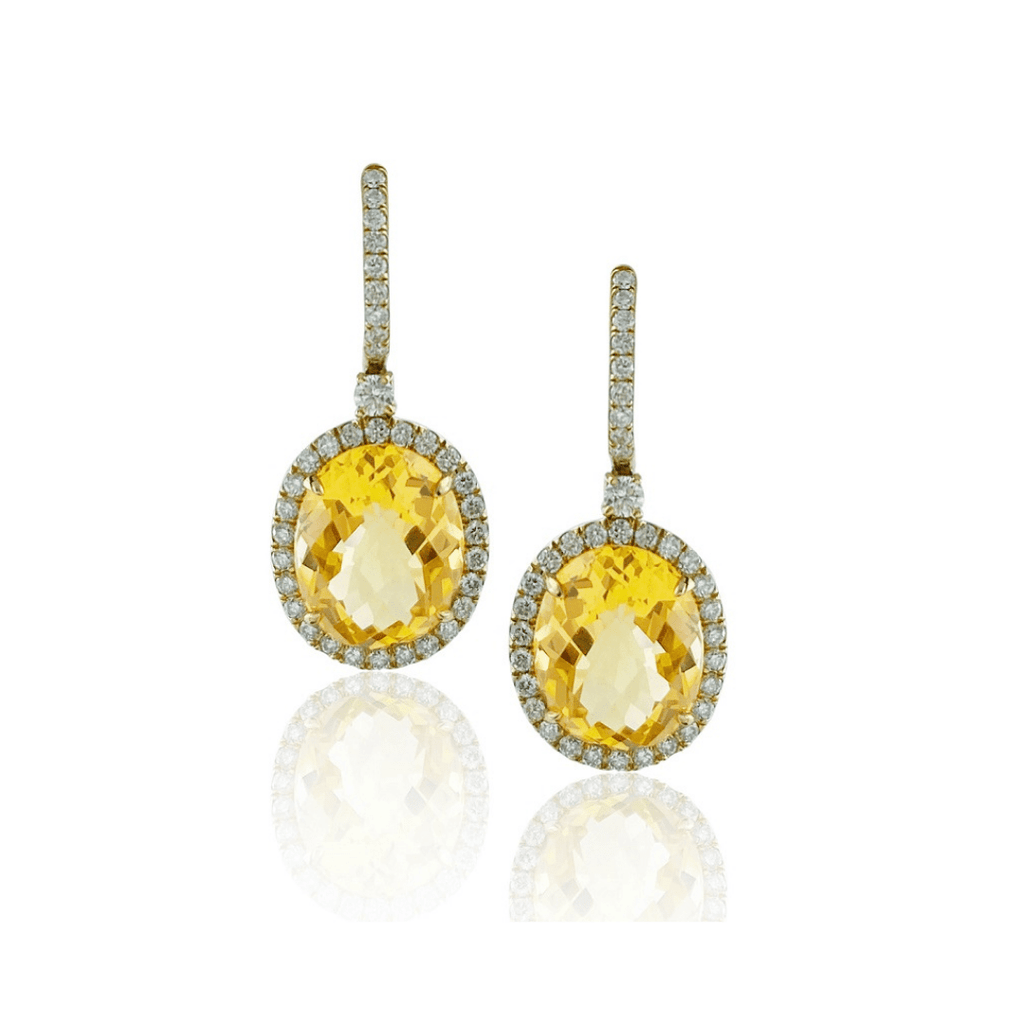 Oval Citrine & Diamond Drop Earrings