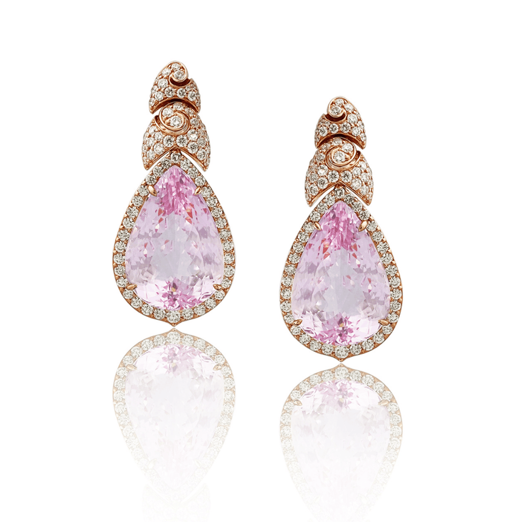58.61ct Kunzite & Diamond Drop Earrings