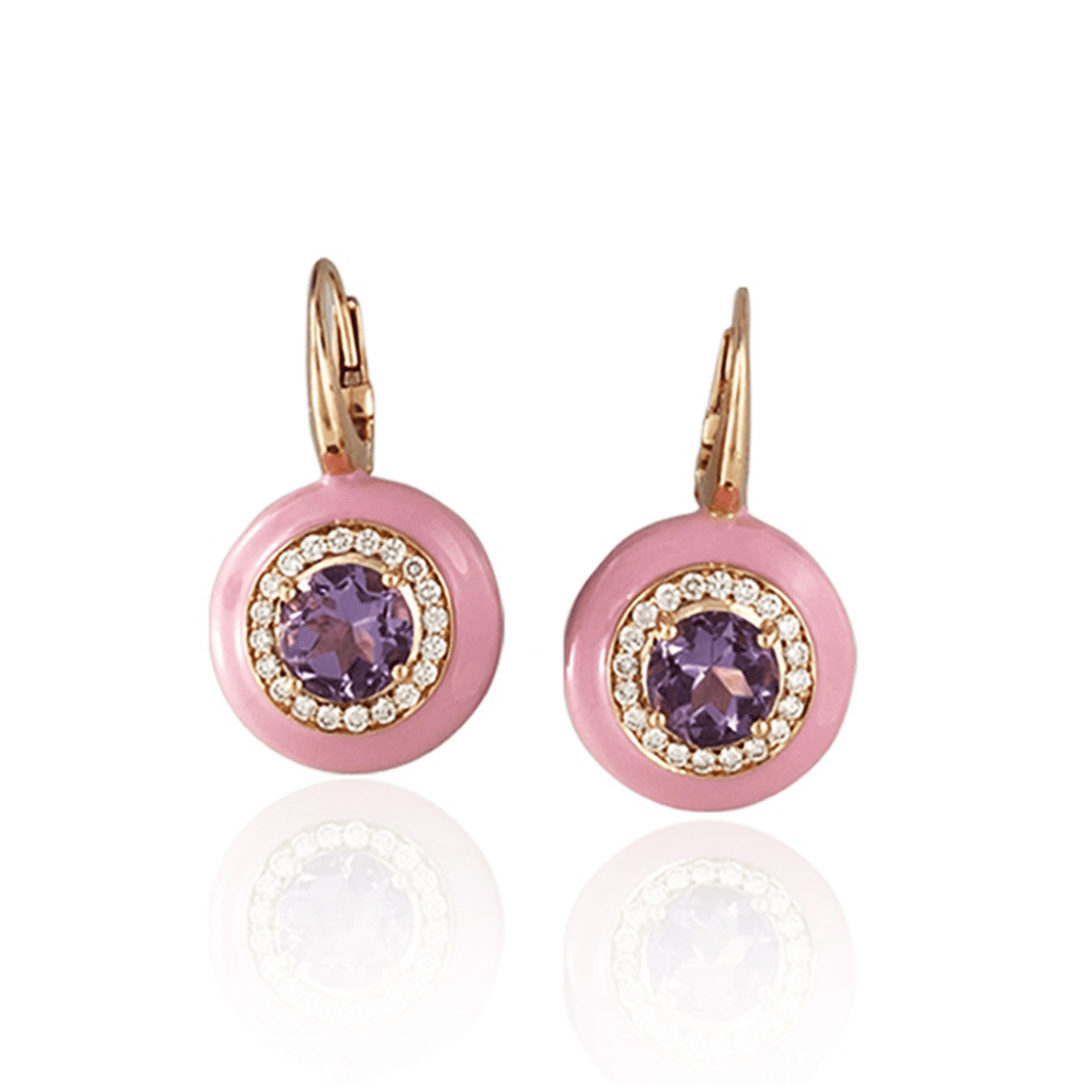 Pink Enamel & Amethyst Drop Earrings