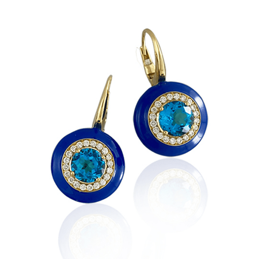 Blue Enamel & Blue Topaz Drop Earrings