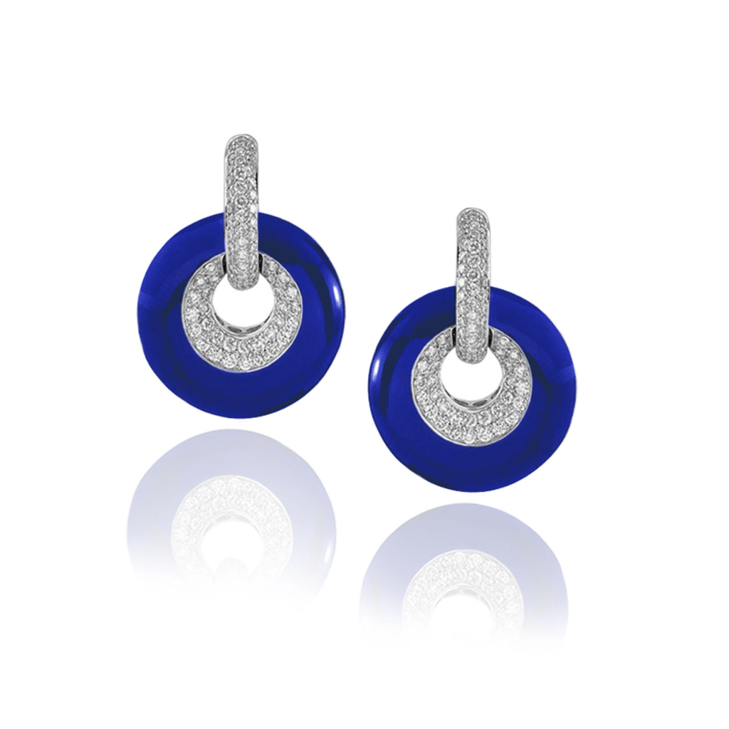 Blue Enamel & Diamond Earrings