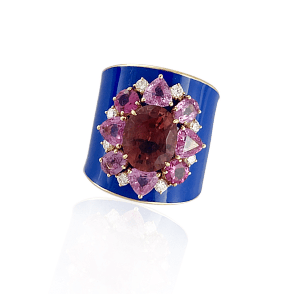 Blue Enamel & Pink Tourmaline Ring