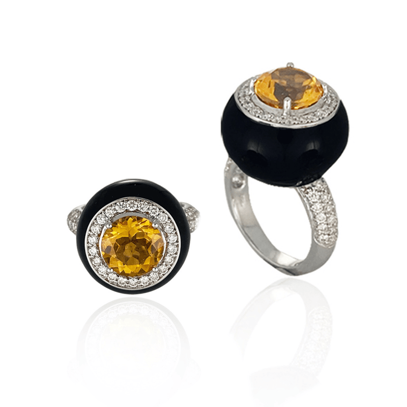 Black Enamel, Citrine & Diamond Ring