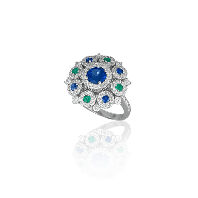 Blue Enamel, Blue Topaz & Diamond Ring