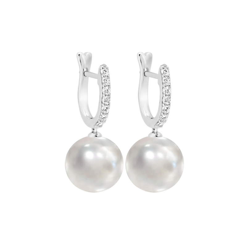 Pearl & Diamond Huggie Drop Earrings