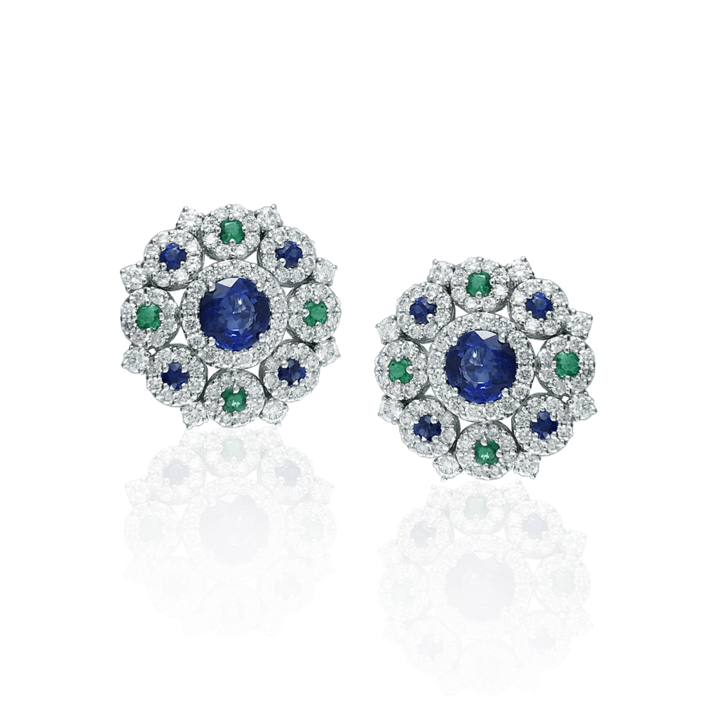 Sapphire, Emerald & Diamond Cluster Earrings