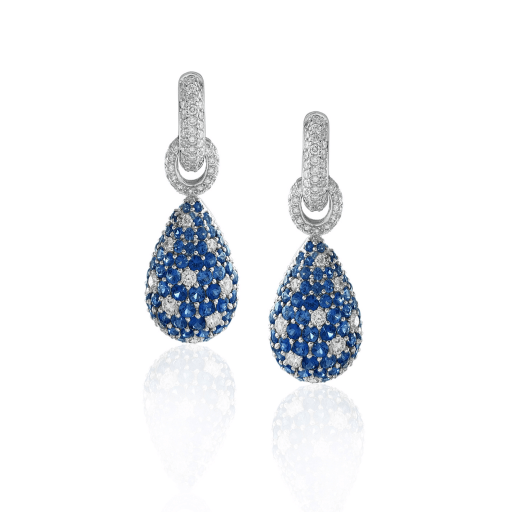 Pave Sapphire & Diamond Huggie Drop Earrings