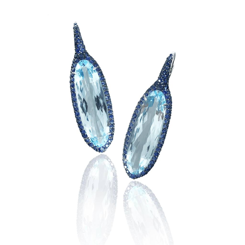 Long Blue Topaz & Sapphire Drop Earrings