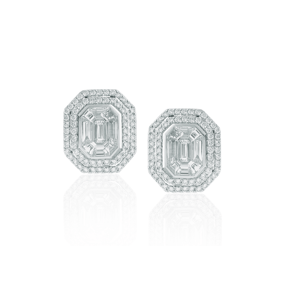 Invisibly Set Diamond Cluster Earrings